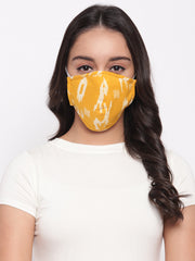 Fabnest Womens Yellow And Black Ikkat Face Masks Pack Of 2