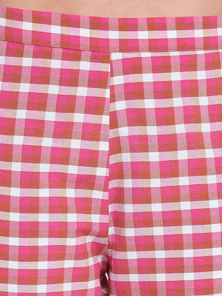 Fabnest women set of pink cotton kurta and checkered harem pants