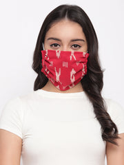 Fabnest Womens Red And Grey Ikkat Face Masks Pack Of 2