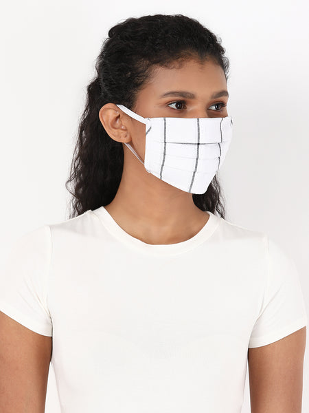 Fabnest Womens Black and White Check Face Masks Pack Of 2