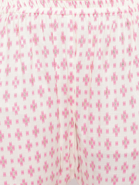 Fabnest womens rayon light pink printed kurta and pant set with contrast stitch detail at yoke.