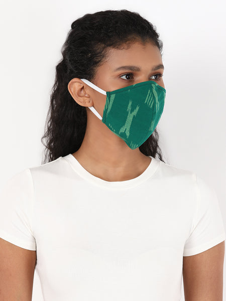 Fabnest Womens Dark Green And Dark Blue Ikkat Face Masks Pack Of 2