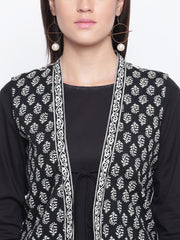 Fabnest womens black cotton kurta pant and block printed sleeveless jacket