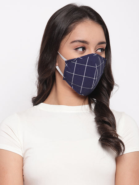 Fabnest Unisex Dark Blue/White Purple /White Black/White Check Face Masks Pack Of 3