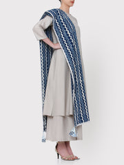 FABNEST HAND BLOCKED PRINT PURE COTTON DUPATTA IN INDIGO WITH SILVER GOTA AND MULTICOLOURED TASSLES