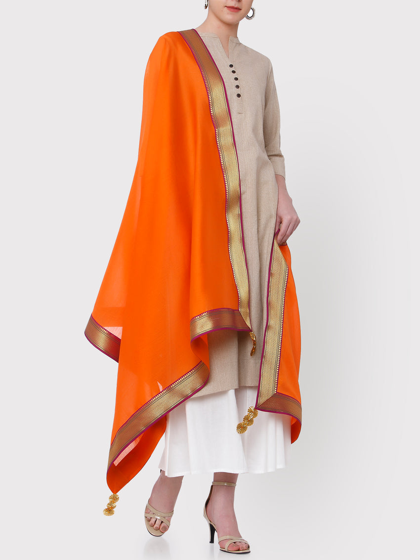 FABNEST PURE CHANDERI ORANGE DUPATTA WITH PURPLE/ANTIQUE GOLD BROCADE BORDER AND GOLD GOTA FLOWER TASSLES