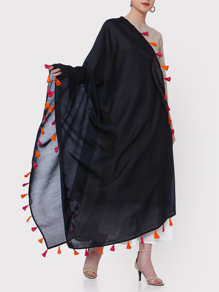 FABNEST PURE CHANDERI BLACK DUPATTA WITH MULTICOLOURED TASSLES ALL OVER