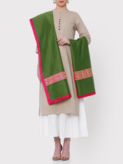 FABNEST PURE CHANDERI SOLID GREEN DUPATTA WITH BROCADE PANEL AND ALL OVER SOLID CHANDERI BORDER