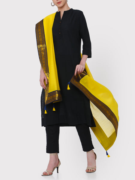 FABNEST PURE CHANDERI YELLOW DUPATTA WITH BROCADE BORDER