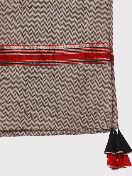 FABNEST HAND BLOCK PRINT PURE COTTON BLACK & WHITE DUPATTA WITH BROCADE BORDER AND MULTICOLOURED GOTA EMBELLISHED TASSLES