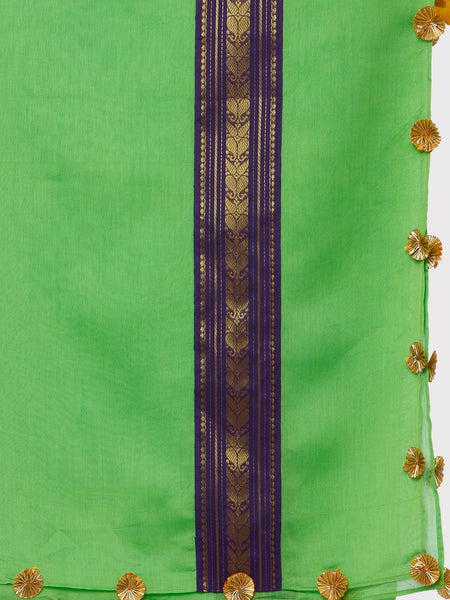 FABNEST PURE CHANDERI LIGHT GREEN DUPATTA WITH BROCADE BORDER AND GOLD GOTA FLOWERS