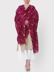FABNEST PURE CHANDERI PURPLE DUPATTA WITH ALL OVER GOLDEN GOTA WORK AND GOTA FLOWERS