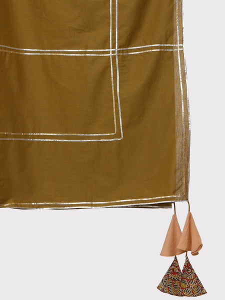 FABNEST PURE COTTON KHAKI COLOUR DUPATTA WITH GOTA WORK AND MULTICOLOURED BLOCK PRINTED TASSLES