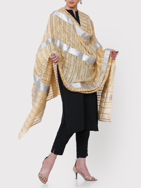 FABNEST LIGHT YELLOW SILK DUPATTA WITH SILVER GOTA BORDER