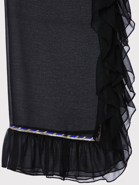 FABNEST BLACK PURE GEORGETTE DUPATTA WITH NAVY/SILVER GOTA AND ALL OVER FRILLS