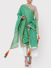 FABNEST GREEN BROCADE DUPATTA WITH ALL OVER GOTA BORDER AND MULTICOLOURED TASSLES