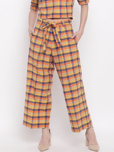 Fabnest womens handloom cotton yellow orange blue multi check plazzo pant
