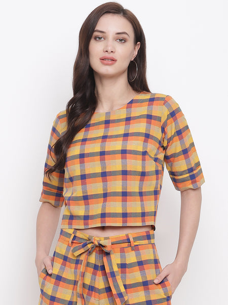 Fabnest womens handloom cotton yellow orange blue multi check cropped top with back opening.