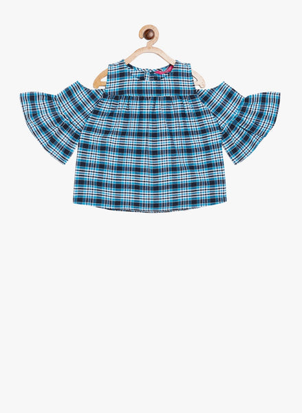 Fabnest girls blue check dress with cold shoulder and flared sleeves