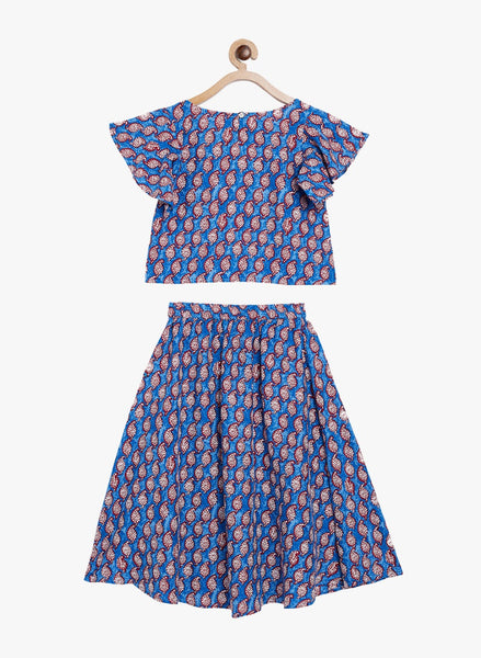 Fabnest girls rayon top and skirt set in blue paisley print