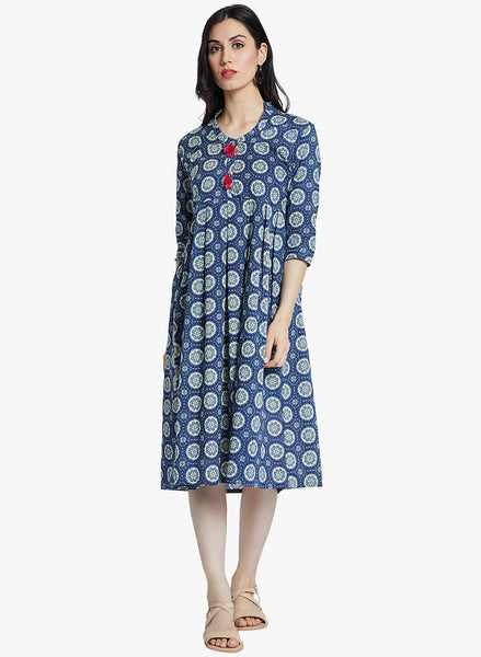 Fabnest cotton blue printed dress like kurta with gathers at waist and pink tassles at the placket