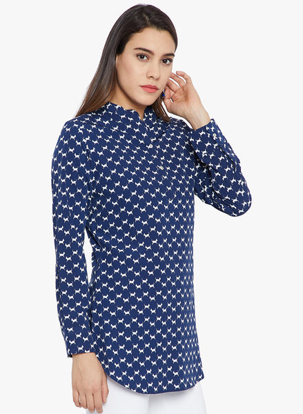 Navy Blue Small Dog Print Women Tunic