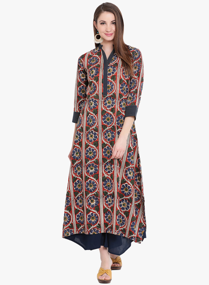 Fabnest multicoloured hand block printed cotton assymetric kurta