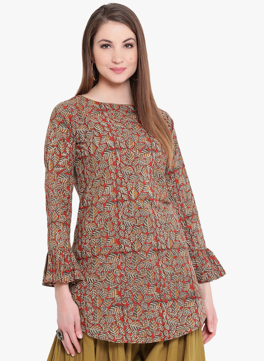 Fabnest Hand Block Printed Brown/Red kurta with flared sleeves