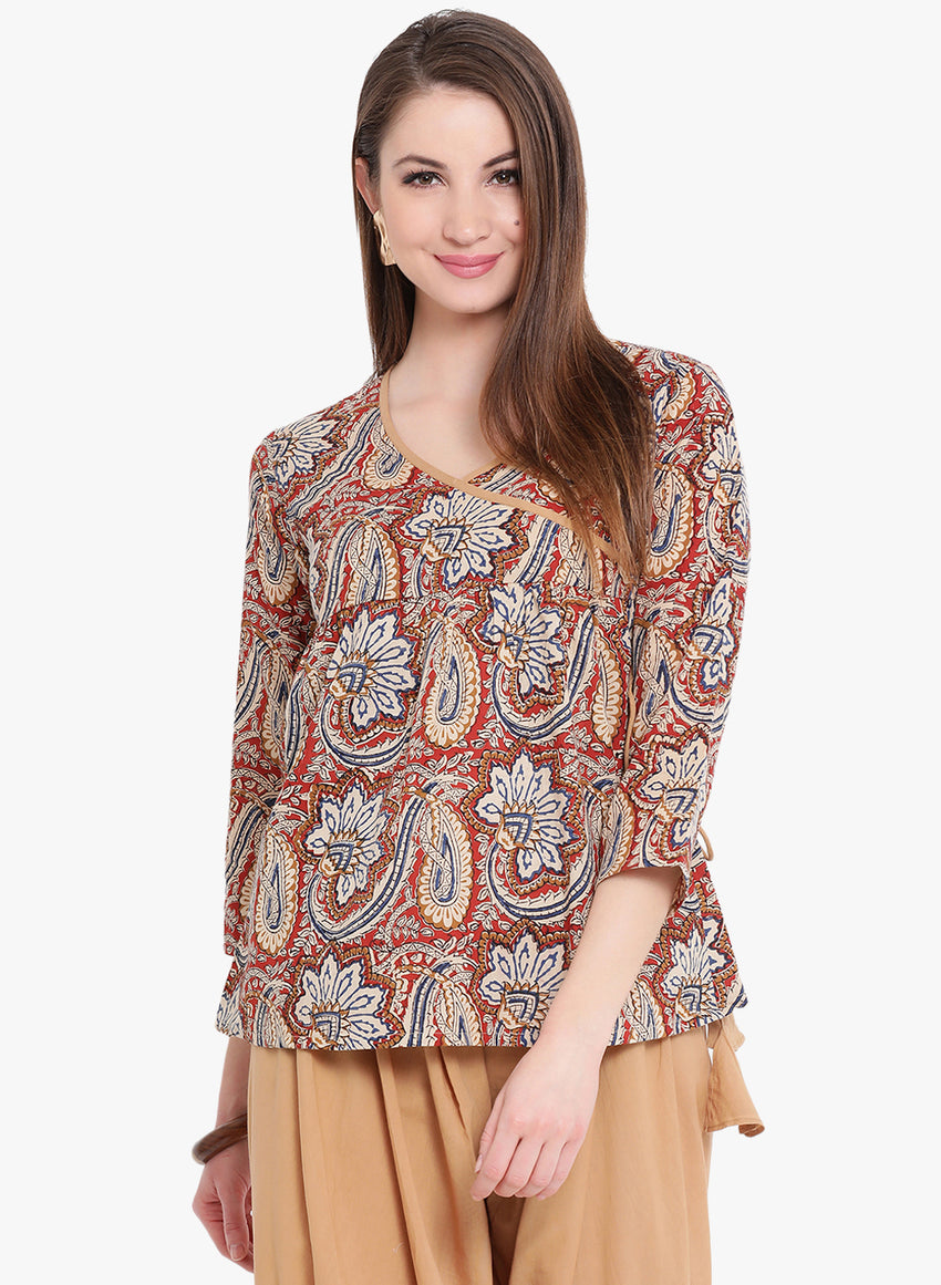 Fabnest Beige Multi Angrakha Cotton Top