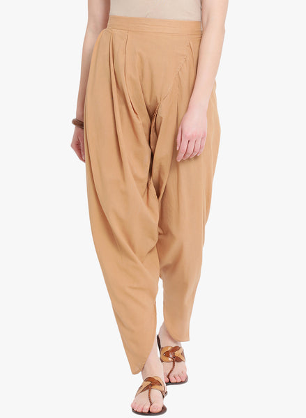 Fabnest Beige Cotton Pleated Overlap Dhoti Pants