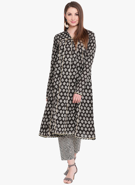 Fabnest Handblocked printed cotton flared kurta with gota