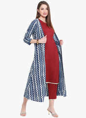 Fabnest womens Straight kurta and pant in maroon color with indigo block print cape