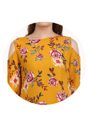 Yellow Floral Print Cold Shoulder Tunic