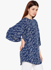 Navy Printed Tunic With Bell Sleeves