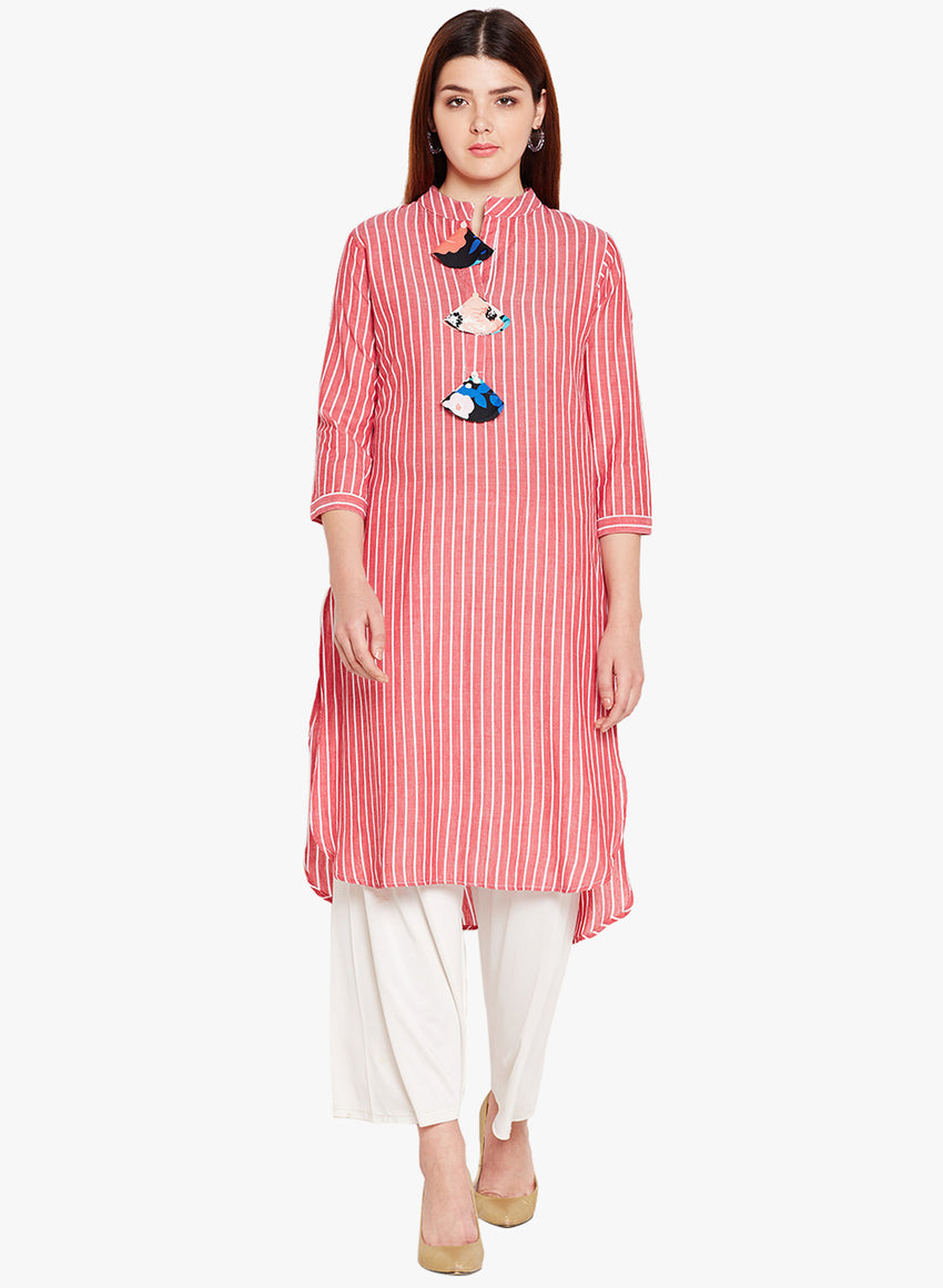 Red & White Stripe Kurta with Fabric Tassels