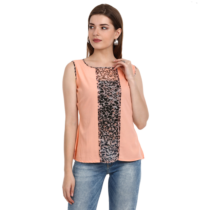 Fabnest women's crepe peach colour printed center panel with sleeve less top