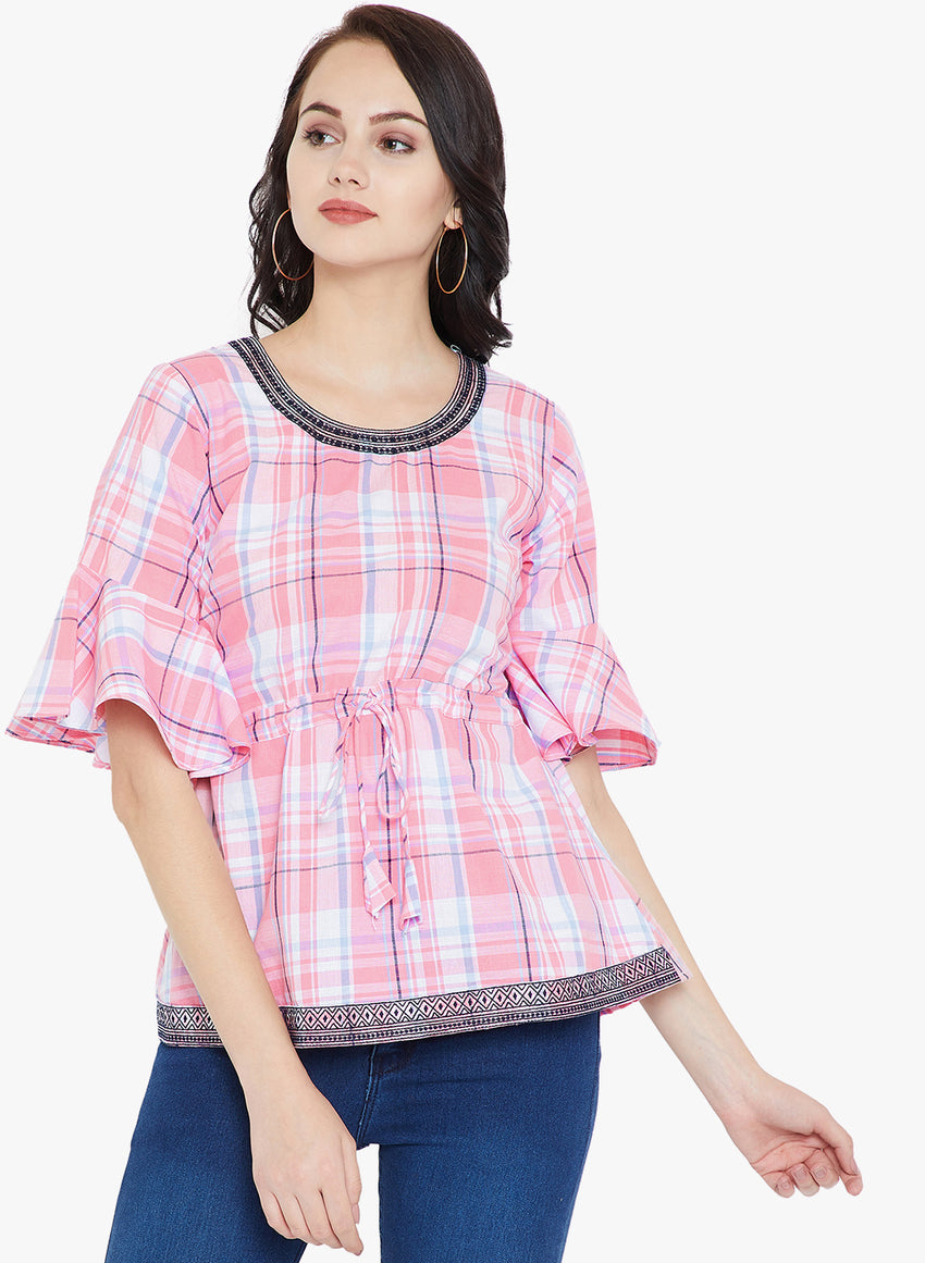 Pink Check Top with Embroidery
