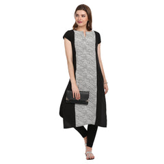 Fabnest women's black and white panelled crepe straight kurta with short sleeves