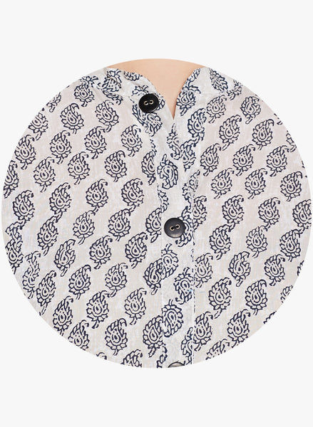 Paisley Print Tunic with Buttons
