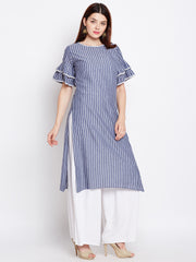 Fabnest women's cotton blue and white Striped straight kurta-kurti with flounce sleeve and lace embellishment