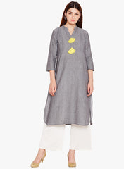 Solid Grey Pin-tucks Kurta with Yellow Tassels