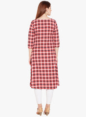 Red & Black multi Check Side Slit Kurta