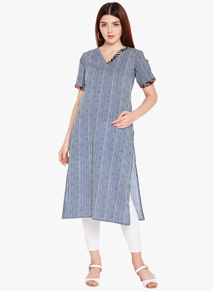 Fabnest women's cotton blue and white stripe v neck straight kurta with contrast fabric embellishment