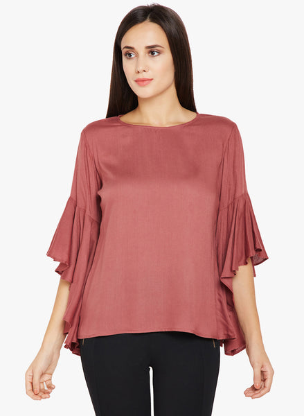 Fabnest women's rayon top with asymmetrical ruffle sleeve.