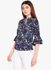 Navy Floral Print Top with Double Flounce Sleeve