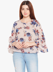 Floral Printed Top with Tiered Flounce Sleeve