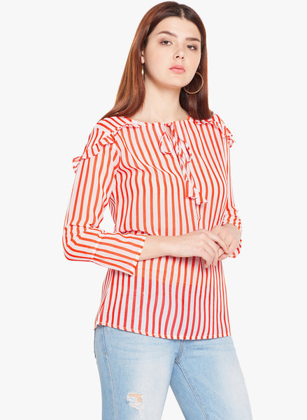 Orange And White Stripe Top With Frill Embellishments