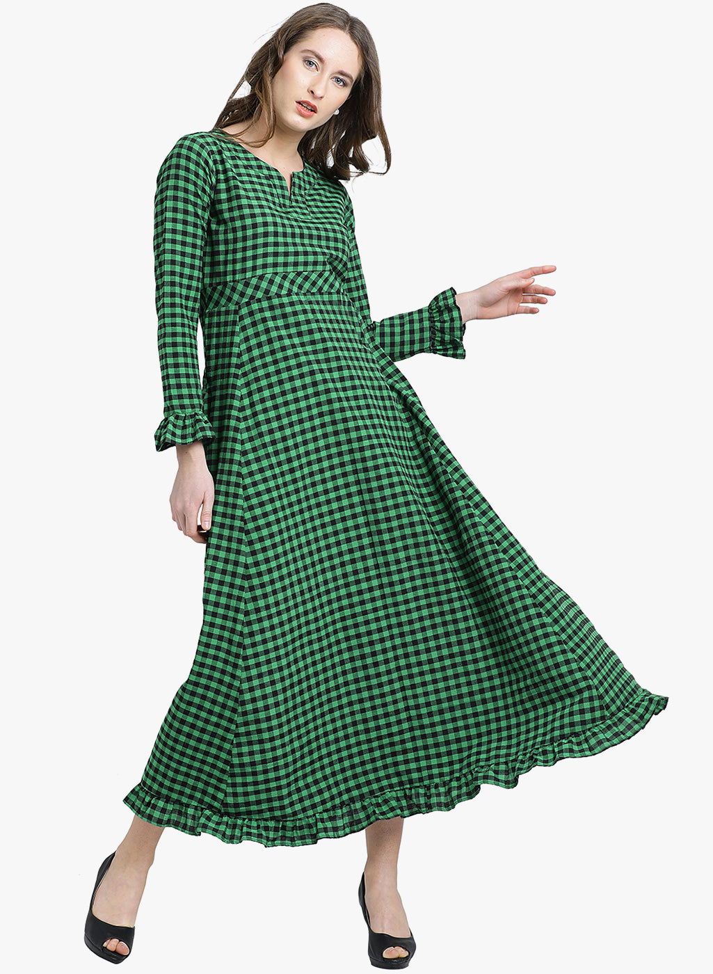 2779770a3c Fabnest womens cotton green and black check maxi dress