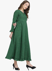 Fabnest womens cotton green and black check maxi dress