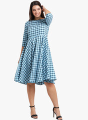 Fabnest womens cotton blue plaid fit and flare dress